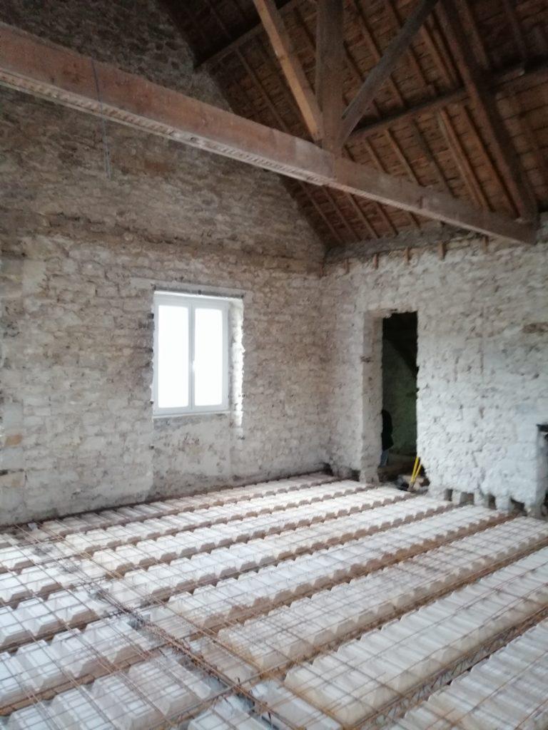 Création d'un plancher béton